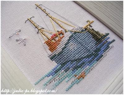вышивка крестом, Fishing Boat, Derwentwater, кораблик