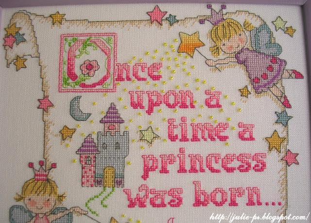 Bucilla 45328 Princess Birth Record, метрика для девочки, вышивка крестом