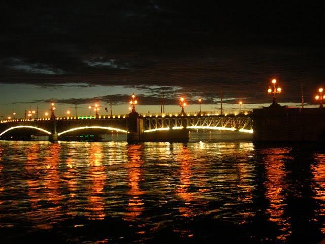 Троицкий мост, Нева, Санкт-Петербург, Дворцовая набережная