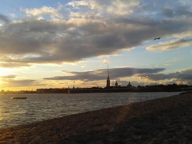 Троицкий мост, Санкт-Петербург, Петропавловская крепость, закат на Неве