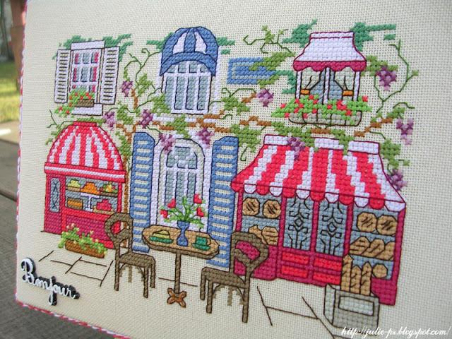 вышивка крестом Парижское кафе, Caroline Palmer, журнал CrossStitcher №158 (март 2005), Cafe parisien, french cafe, Париж