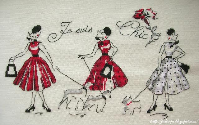Les brodeuses parisiennes, Mademoiselle en rouge, сумка для ноутбука с вышивкой
