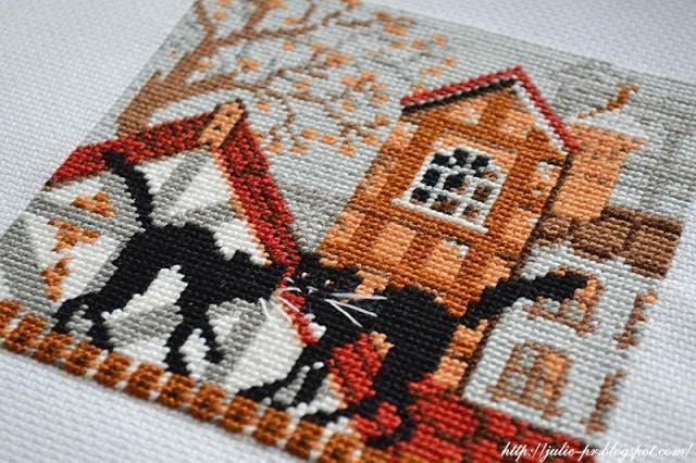 Riolis 613, кошки на крыше, кошки осень риолис, вышивка, вышивка крестом