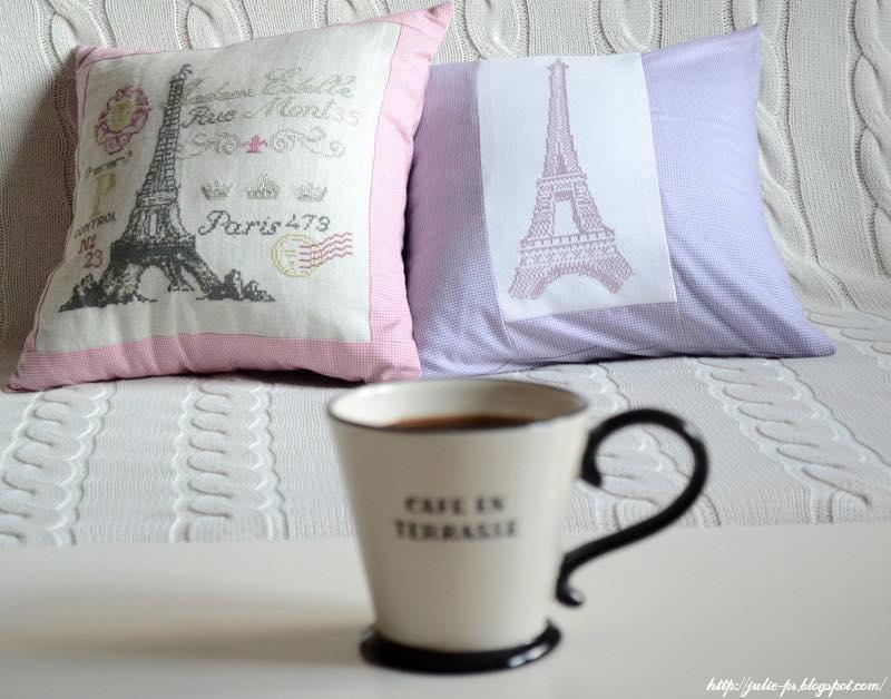 Эйфелева башня, Париж, подушки, вышивка крестом, Tour Eiffel, Paris