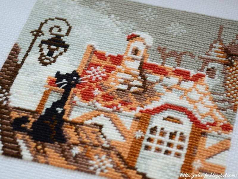 Riolis 610, Город и кошки, зима, крыши, вышивка крестом