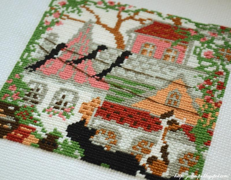 Riolis 612, Город и кошки, лето, крыши, вышивка крестом