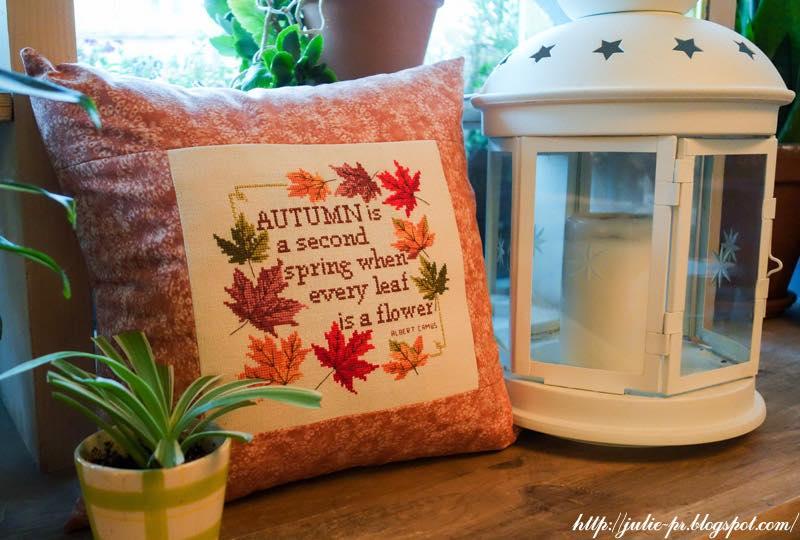 Michaela Learner Autumn, подушка с вышивкой, вышивка крестом осень