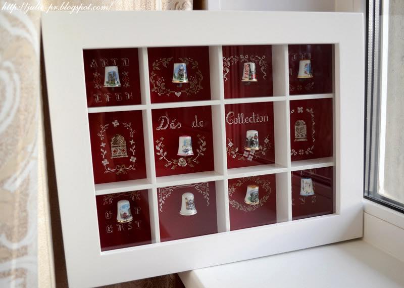 """шкаф для наперстков, коллекция наперстков, вышивка крестом Véronique Enginger Boite de collectionneuse """"Mes plus beaux dés"""" из журнала De fil en aiguille (DFEA) Carnet de broderie 03"""
