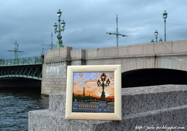 Сделай своими руками, парижский вечер, Париж, вышивка крестом, Троицкий мост, Мост Александра III