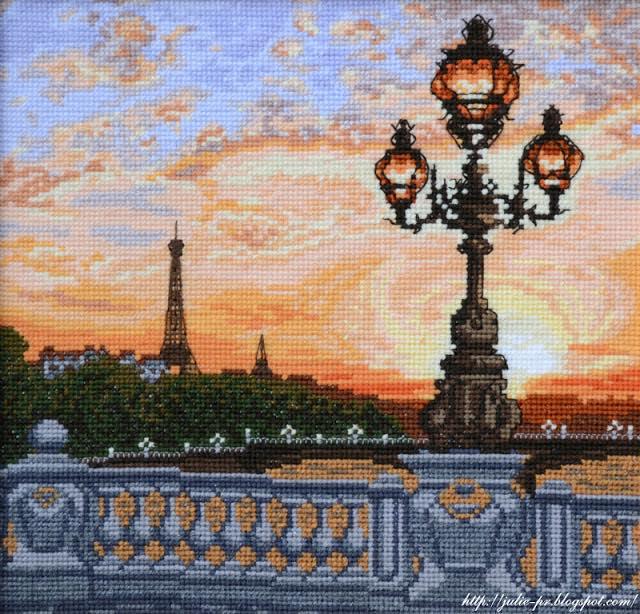 Сделай своими руками, парижский вечер, Париж, вышивка крестом, Мост Александра III
