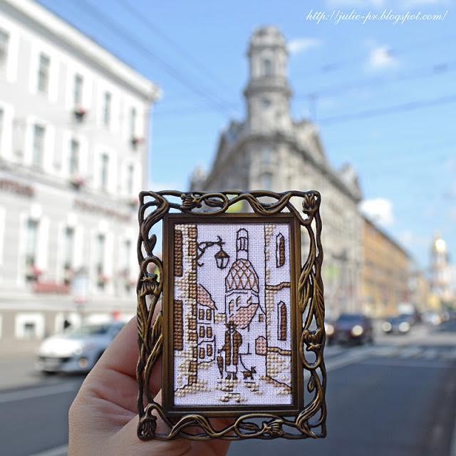РТО FA014 Улица, старый город, вышивка крестом, RTO миниатюра