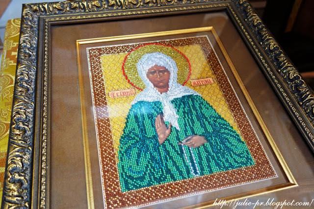 икона Блаженная Матрона Московская, вышивка бисером