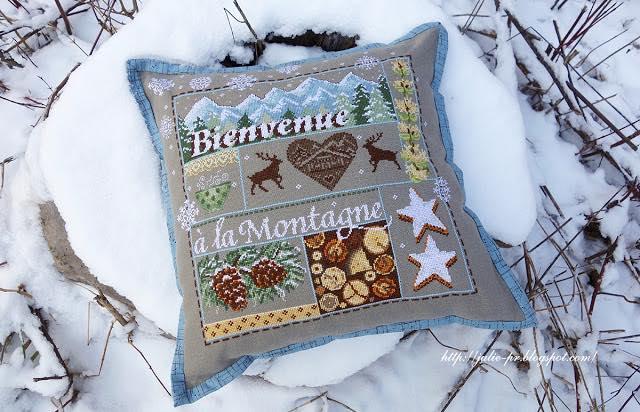 Madame la Fee, Bienvenue a la montagne, добро пожаловать в горы, вышивка крестом, подушка