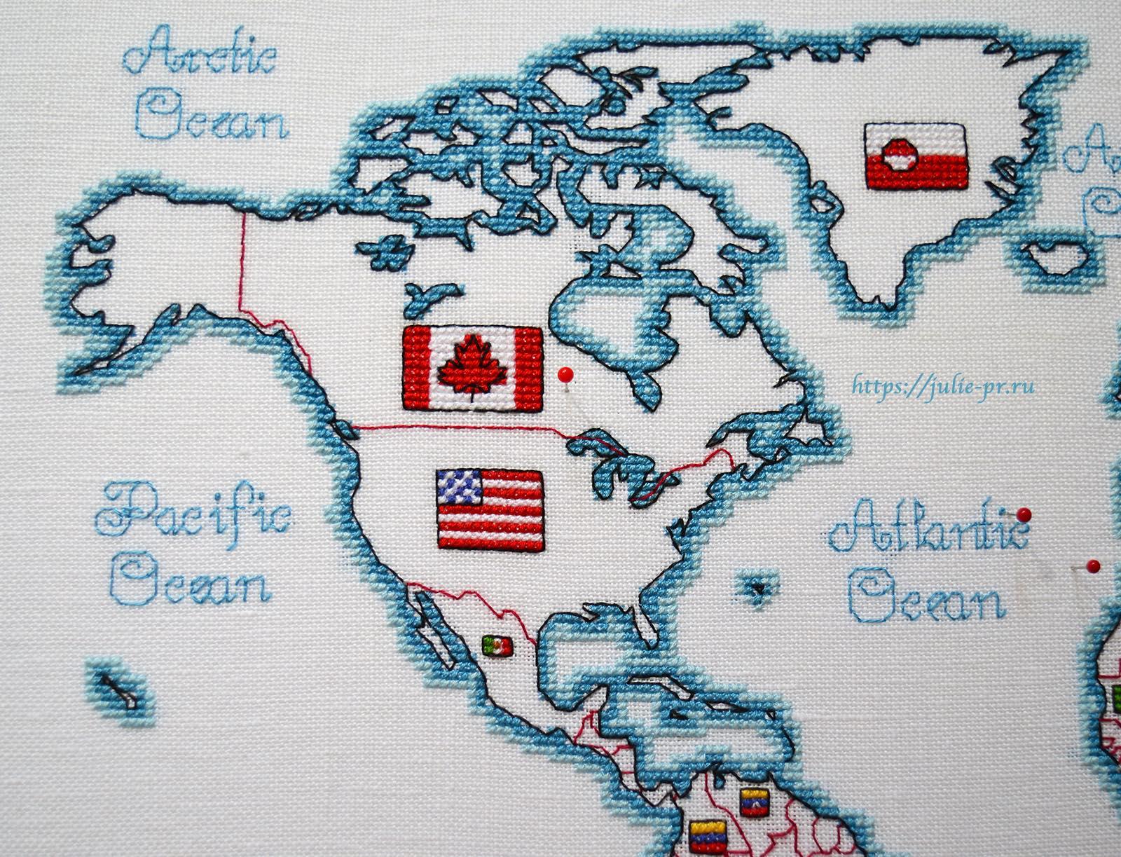 Вышивка крестом DMC K3413 DMC K3413 - Oceania collection, Карта мира. Северная Америка