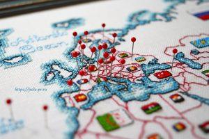 Вышивка крестом DMC K3413 Map Of The World / Карта мира. Европа