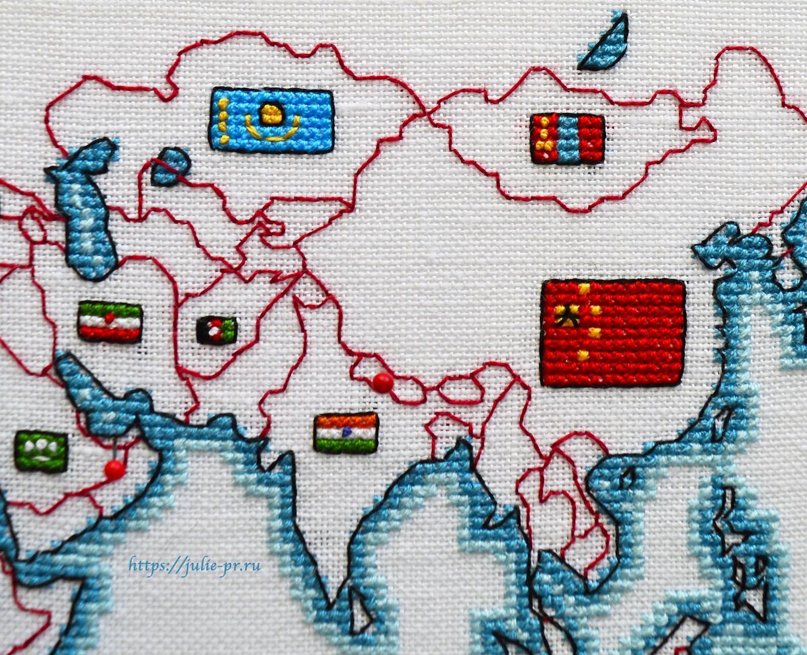 Вышивка крестом DMC K3413 DMC K3413 - Oceania collection, Карта мира. Азия