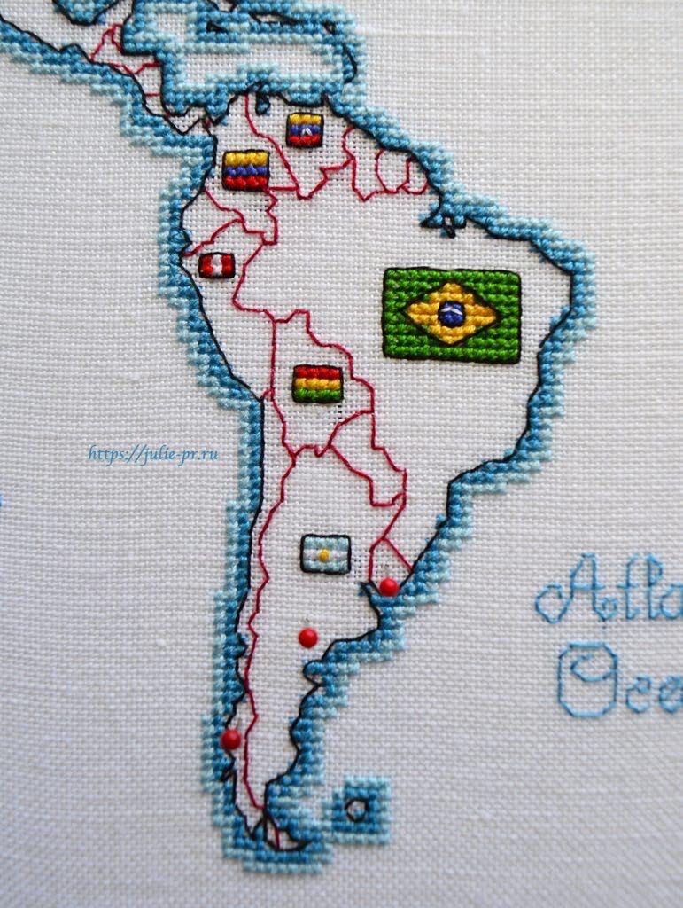 Вышивка крестом DMC K3413 DMC K3413 - Oceania collection, Карта мира. Южная Америка