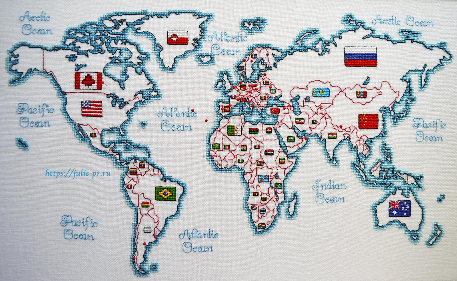 Вышивка крестом DMC K3413 DMC K3413 - Oceania collection, Карта мира