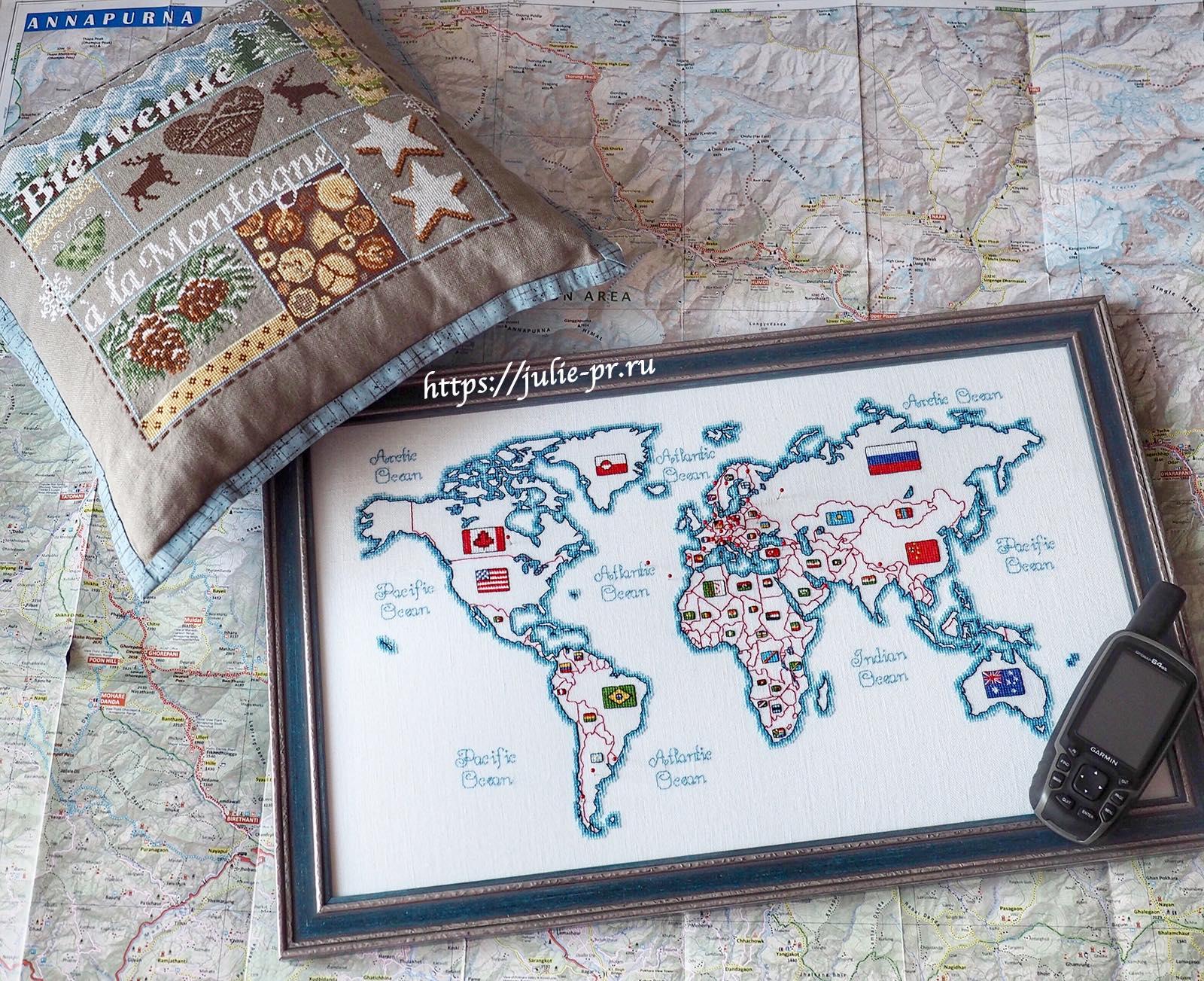 Карта мира DMC K3413 - Oceania collection и подушка с вышивкой по схеме Madame la Fee - Bienvenue a la montagne