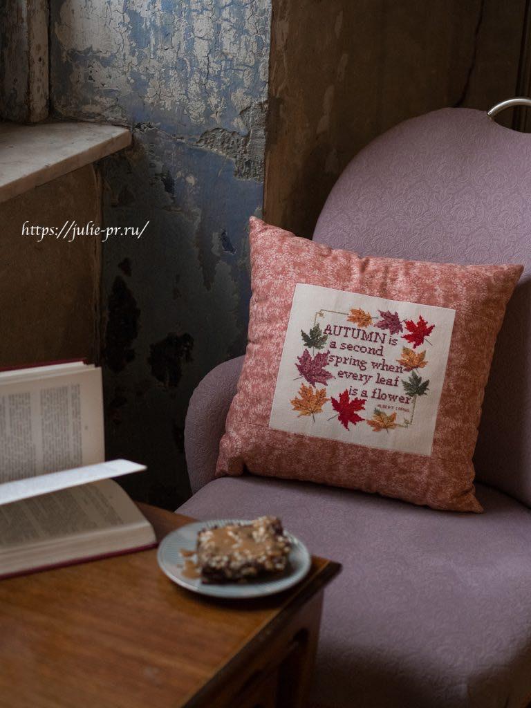 Michaela Learner, Autumn, осень, осенние листья, подушка, вышивка крестом