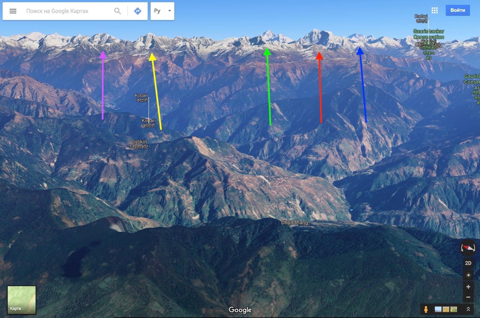 Непал, Гималаи в Google Maps