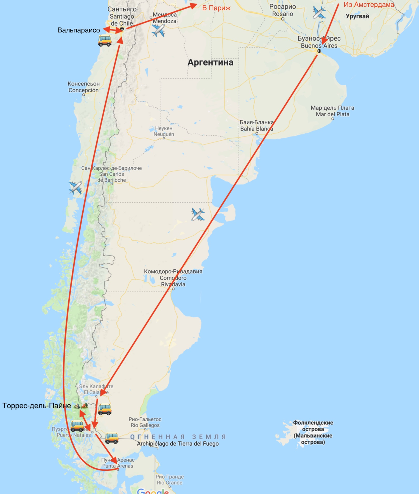 Схема поездки в Патагонию