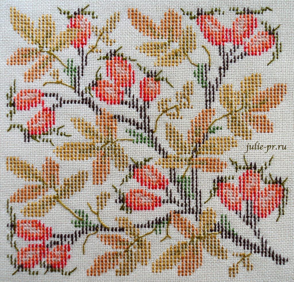 Вышивка крестом Осенний шиповник из датской книги Broderede blomster, blade og bær Ingrid Plum, идеальная изнанка
