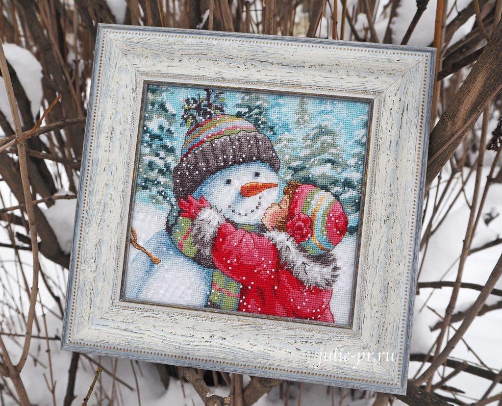 Вышивка крестом, Dimensions 08833 -A Kiss for Snowman / Поцелуй для снеговика, оформление