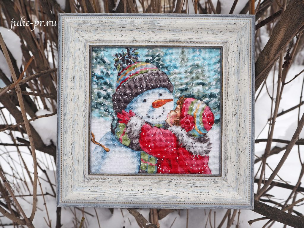 Dimensions 08833 -A Kiss for Snowman / Поцелуй для снеговика, вышивка крестом, оформление