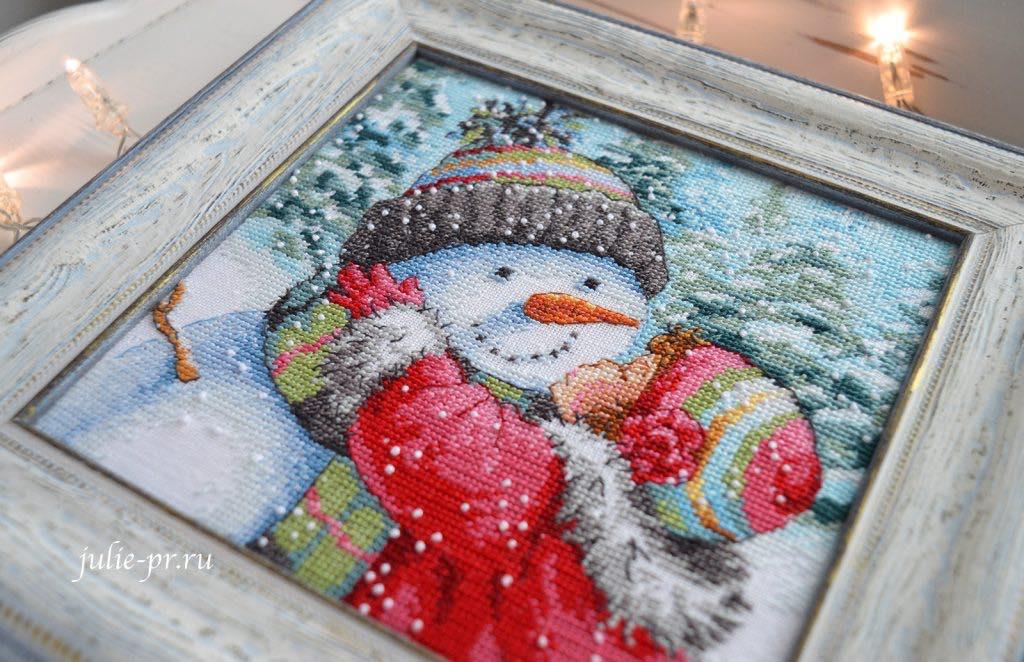 Вышивка крестом набор Dimensions 08833 -A Kiss for Snowman / Поцелуй для снеговика, оформление