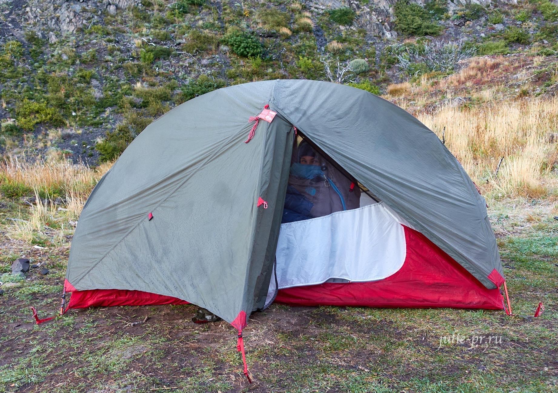 Чили, Патагония, Торрес-дель-Пайне, палатка