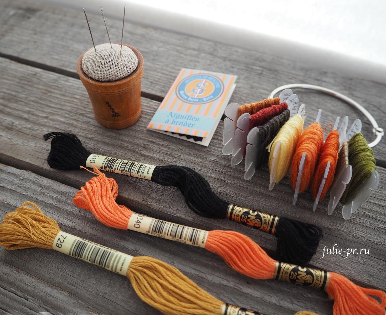 Вышивка крестом, Игольница Sajou, иглы №28 Sajou, мулине DMC, бобинки для мулине, кольцо для мулине