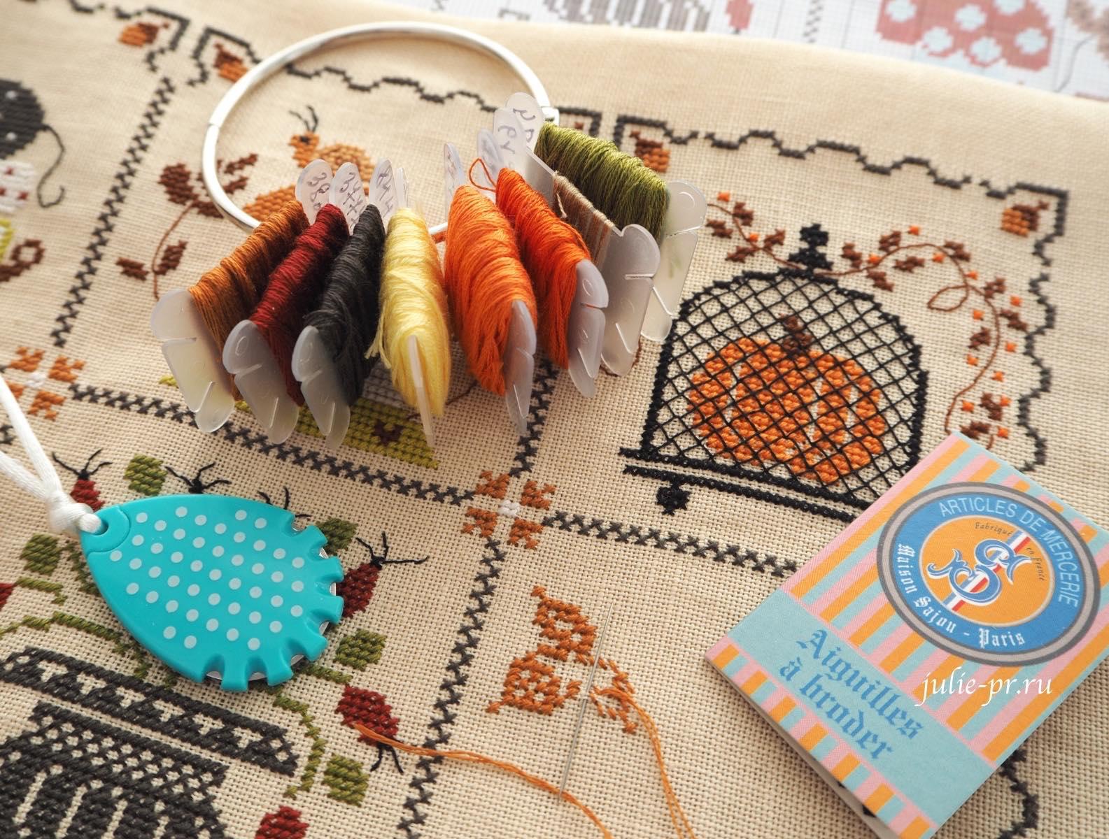 Вышивка крестом, Cuore e batticuore, Shabby Autumn Calendar, Осенний шебби календарь, резак для мулине prym, иглы №28 Sajou, кольцо для мулине, вышивка в самолете