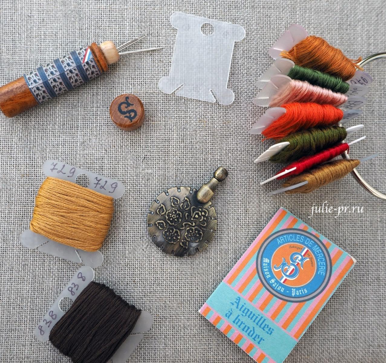 аксессуары для вышивки крестом, деревянный чехол для игл Sajou, бобинки для мулине, кольцо для мулине, резак для ниток RTO, иглы №28 Sajou