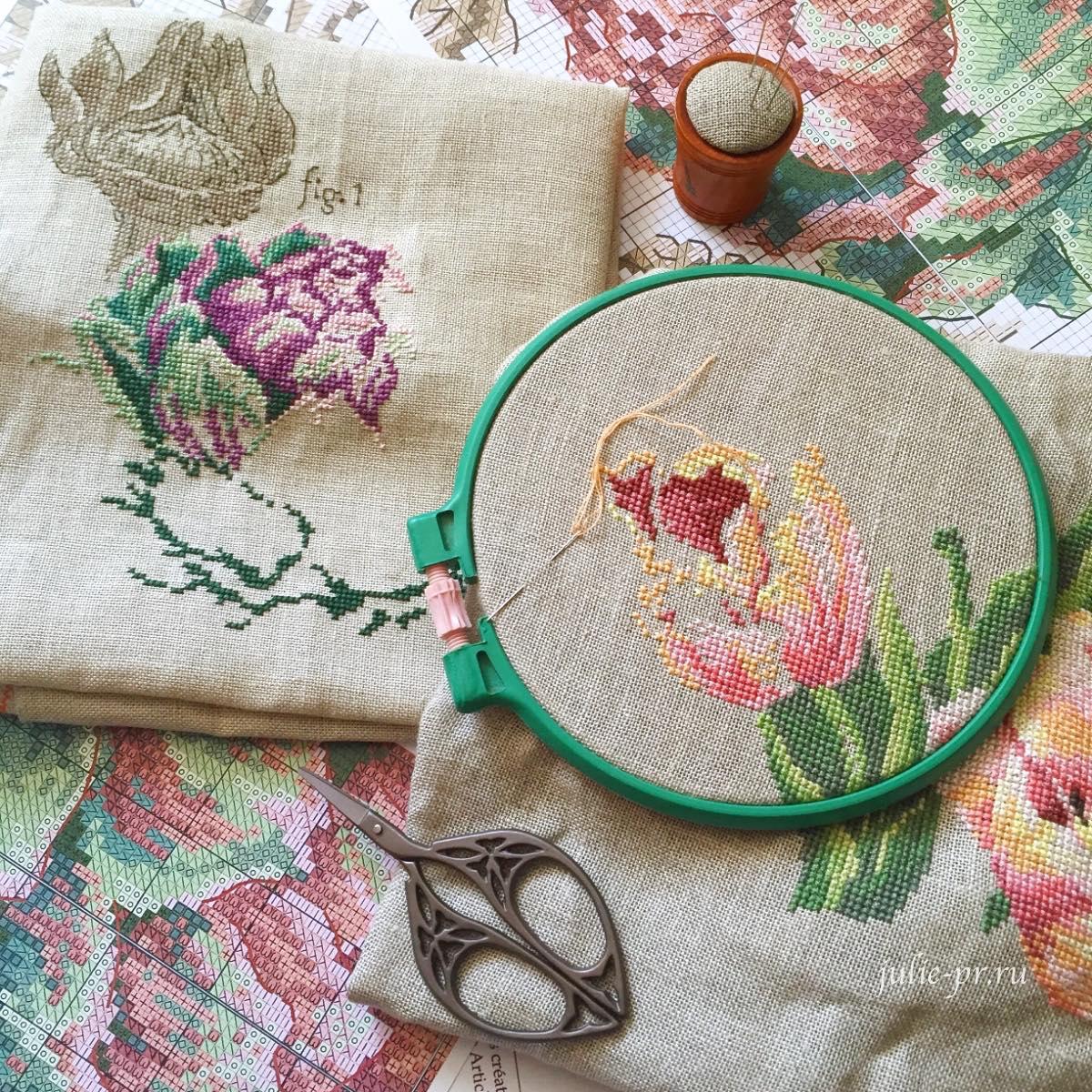ботаника, вышивка крестом, тюльпан, артишок, Парижские вышивальщицы, Veronique Enginger, Les brodeuses parisiennes