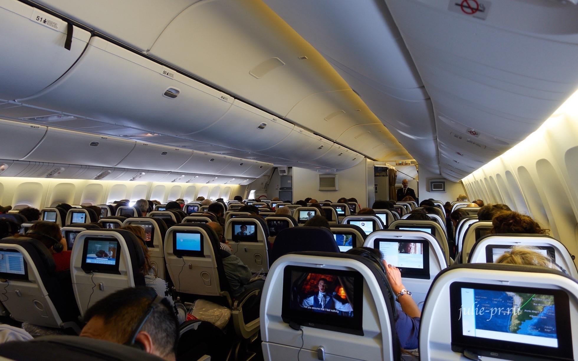 Air France Boeing-777, самолёт, салон