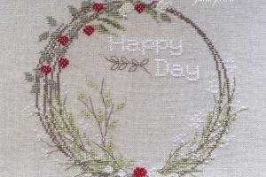 Вышивка крестом, Jennifer Lentini, 1807 Happy Day, счастливый день, венок, Une Croix Le Temps D'un The