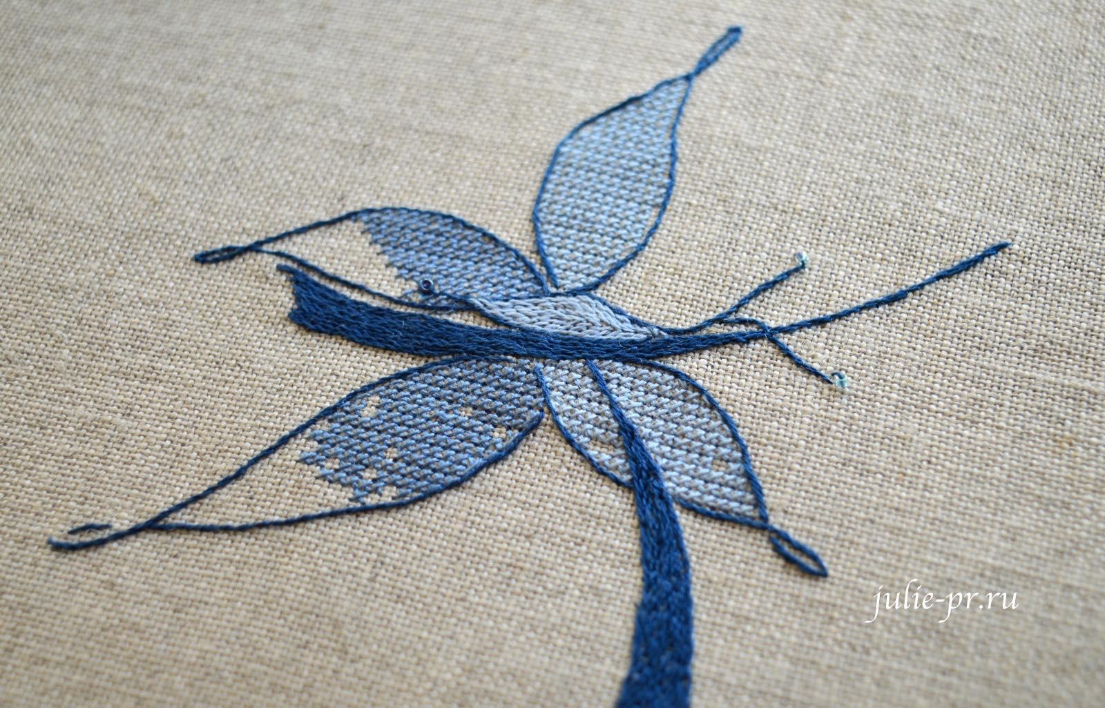 Вышивка крестом, вышивка атласной гладью, атласная гладь, Soizic, буква J с бабочкой, как вышивать