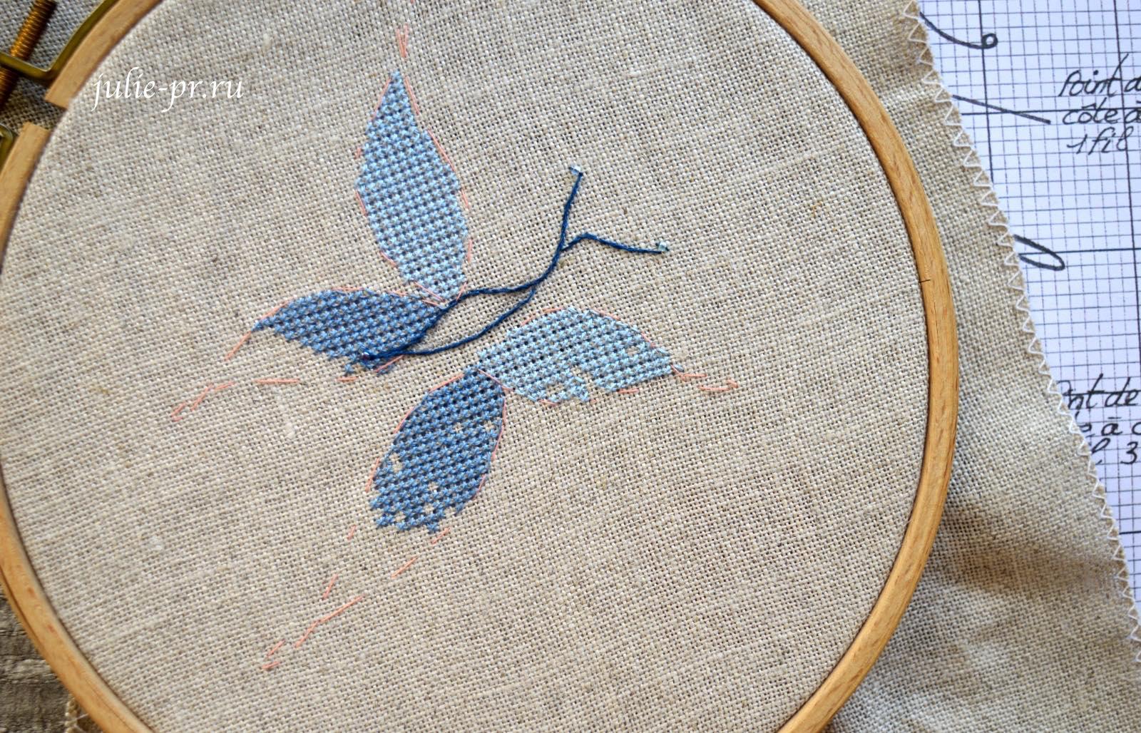 Вышивка крестом, Soizic, буква J с бабочкой, как вышивать
