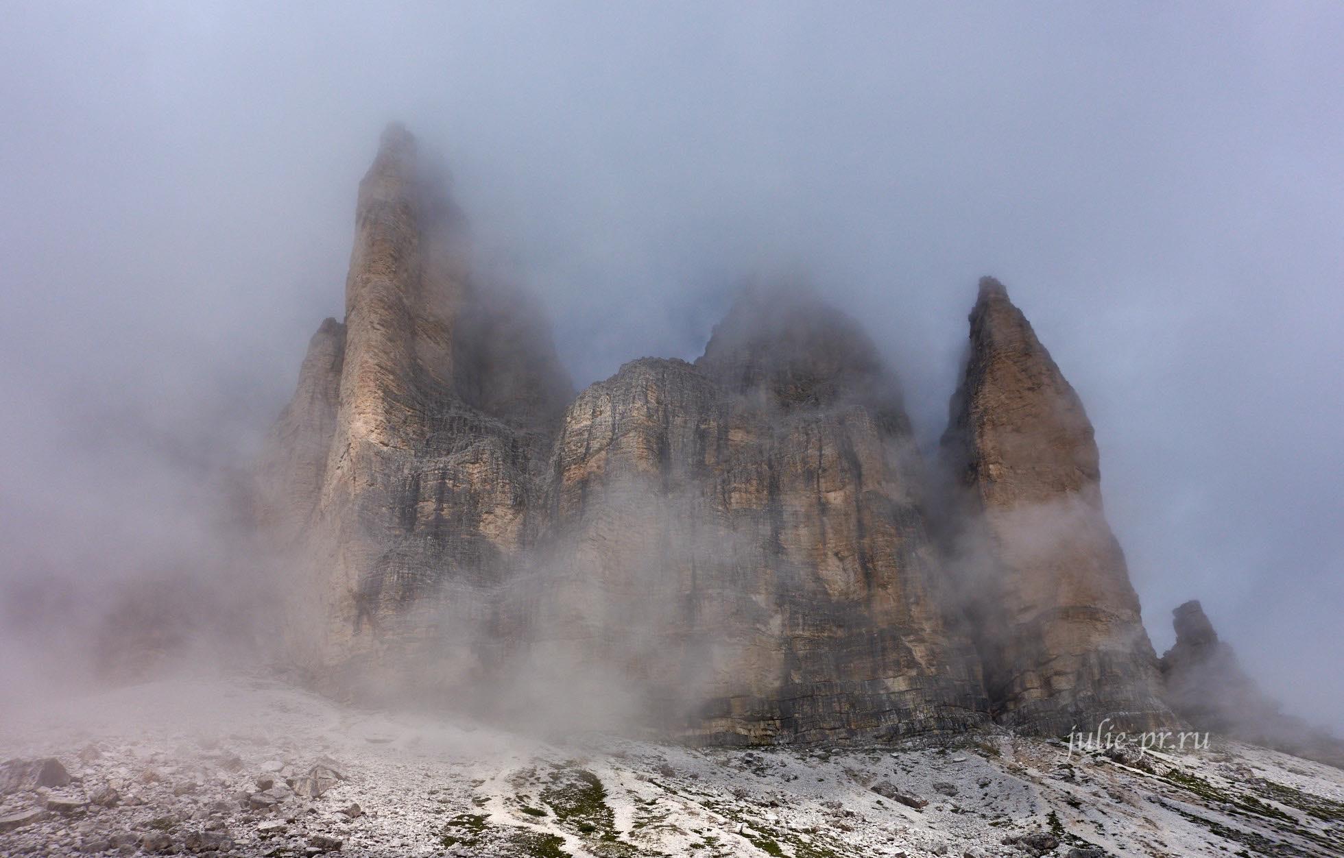 Италия, Альпы, Доломиты, Tre Cime в облаке