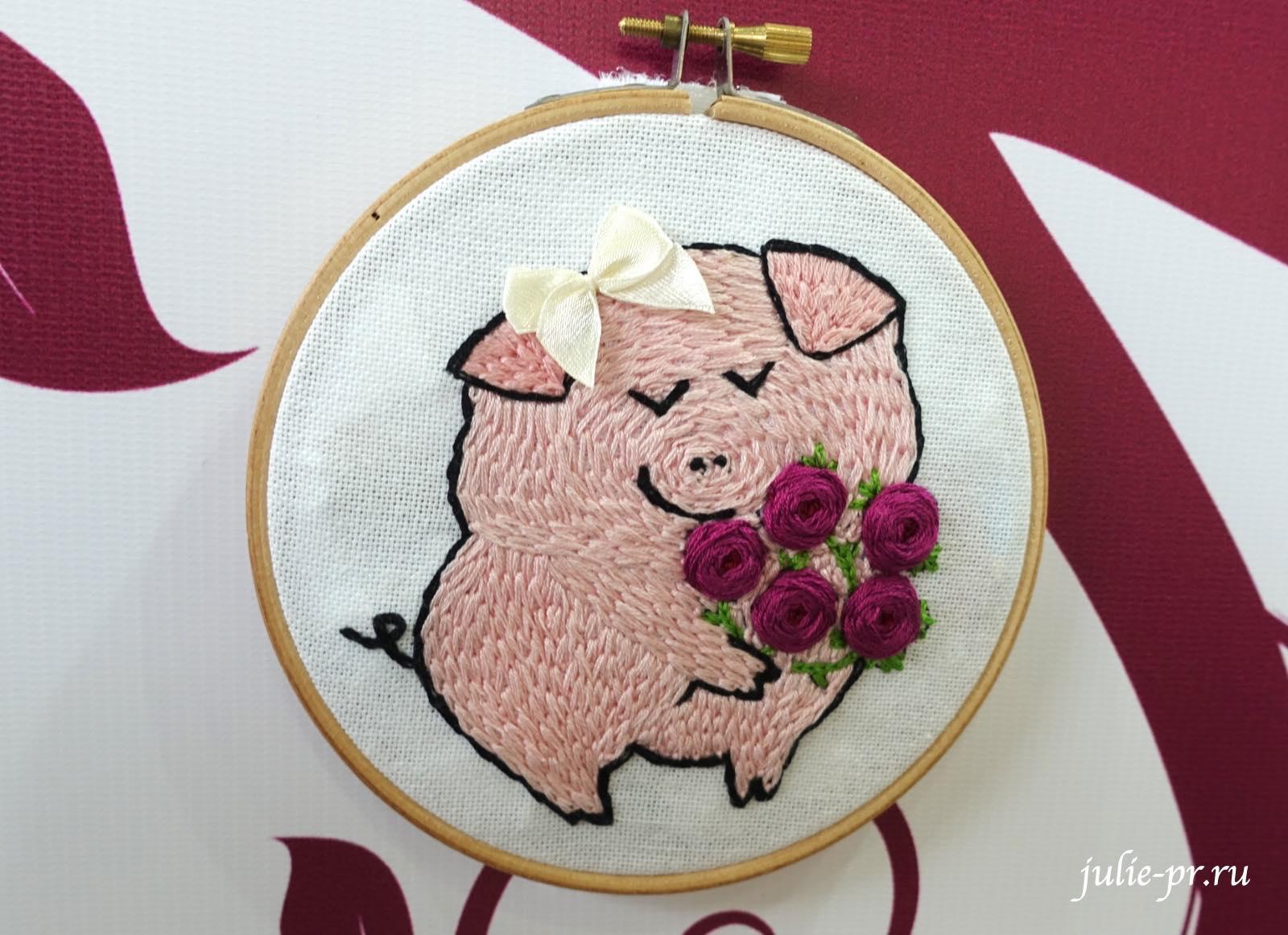 вышивка гладью, поросенок, год свиньи, риолис, формула рукоделия