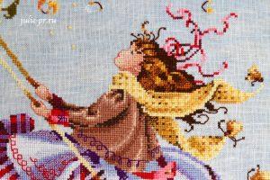 Вышивка крестом, Nora Corbette, Mirabilia MD 33 — Touching The Autumn Sky, Касаясь осеннего неба, мирабилия, девочка на качелях