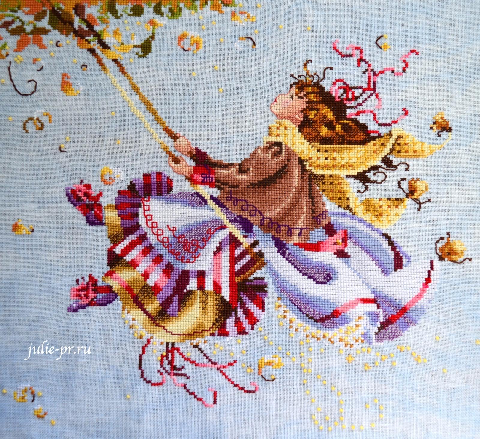 Вышивка крестом, Nora Corbette, Mirabilia MD 33, Touching the Autumn Sky, Касаясь осеннего неба, мирабилия, девочка на качелях
