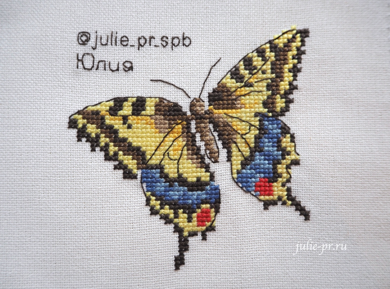 вышивка крестом, Veronique Enginger—Oiseaux, papillons et petites betes au point de croix, французская вышивка, бабочка