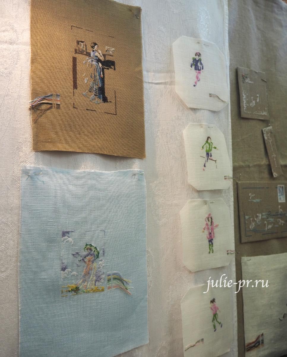 Marie-Therese Saint-Aubin (MTSA), книгаMerveilleuse nature au point de croix, вышивка крестом, дама с зонтиком по картине Моне, Jean-Baptiste Corot - La dame en blue, Дама в синем