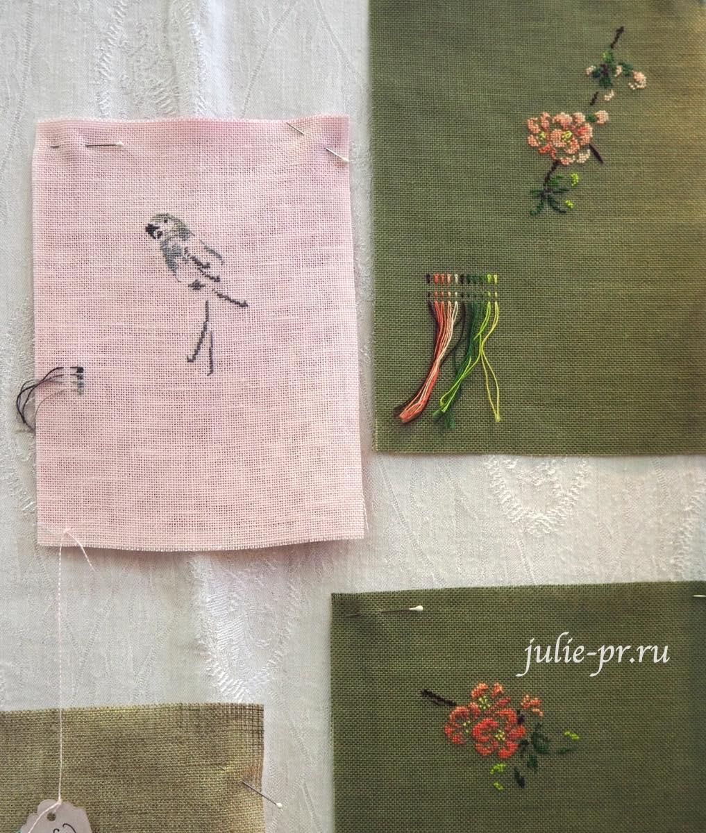 Marie-Therese Saint-Aubin (MTSA), книгаMerveilleuse nature au point de croix, попугай, вышивка крестом, сакура