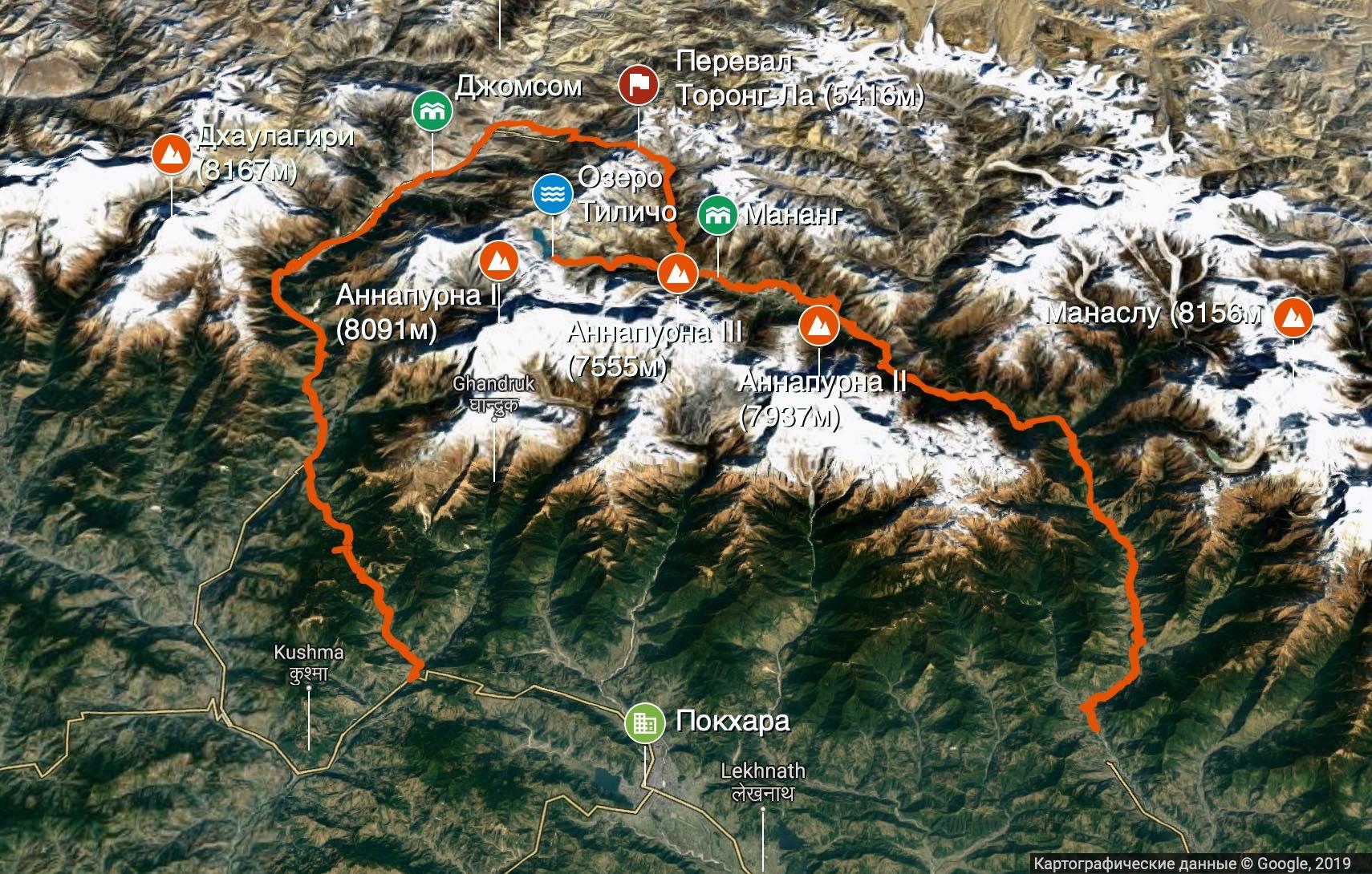Непал, Трек вокруг Аннапурны, план