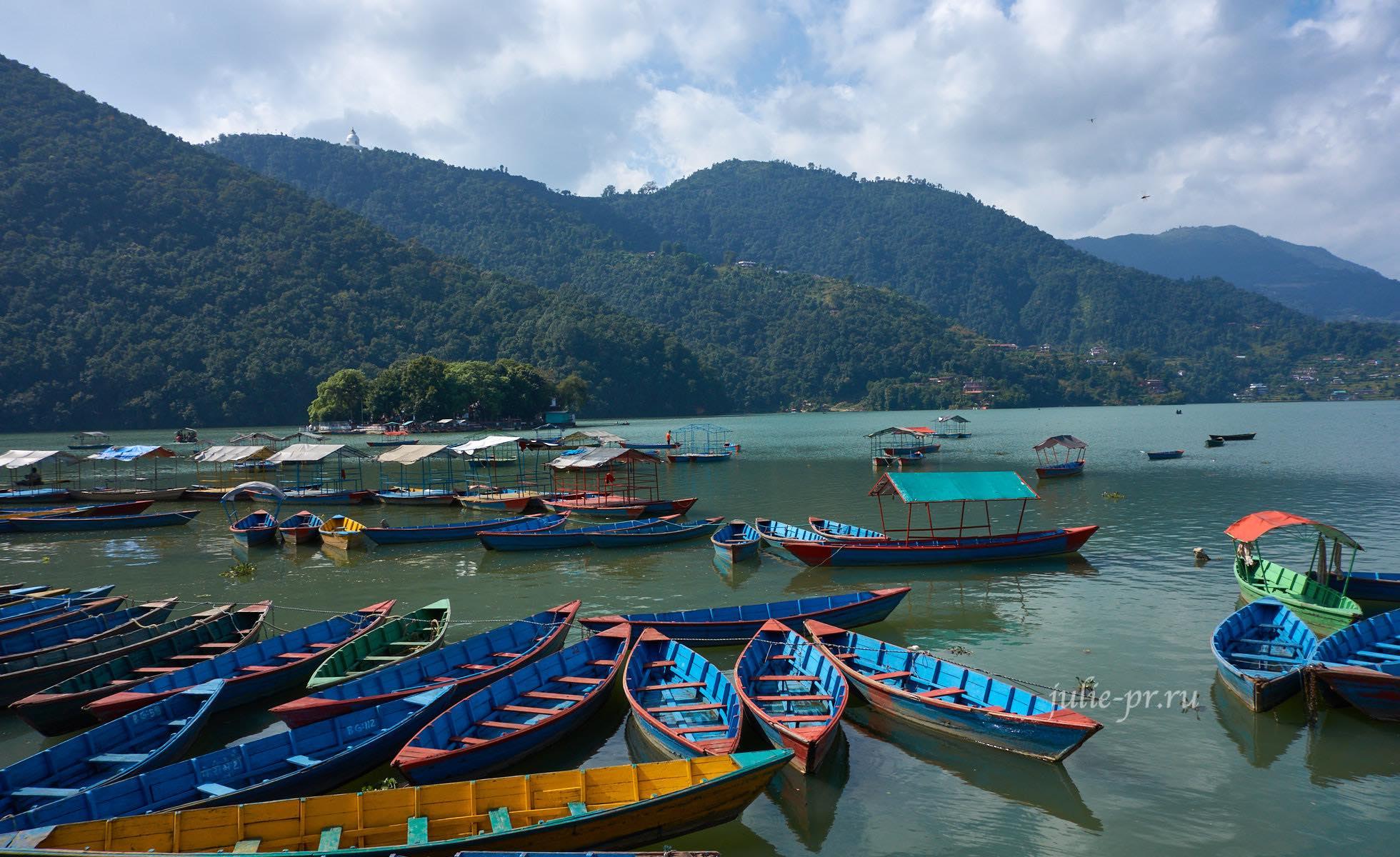 Непал, Покхара, озеро Phewa, лодки