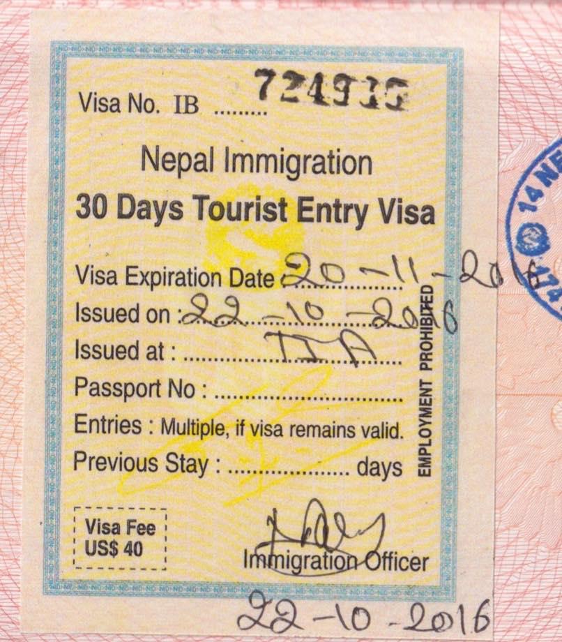 Непал, виза