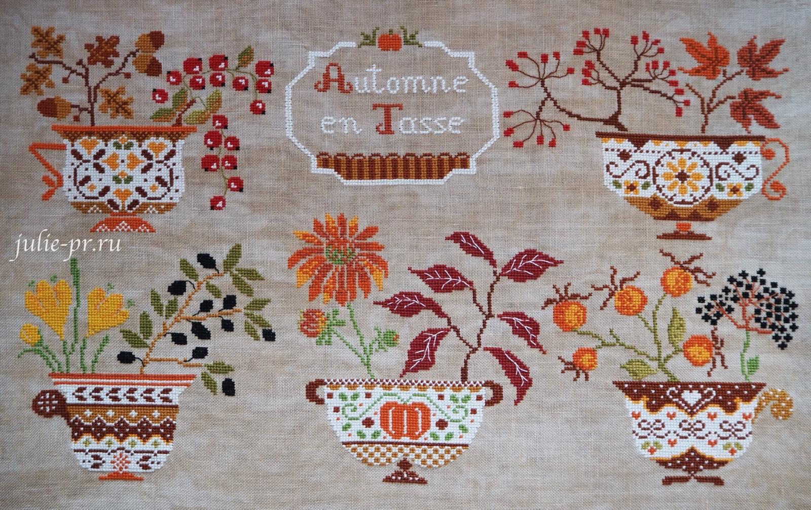 Cuore e Batticuore, Autunno in Tazza, осень в чашках, вышивка крестом, вышивка и кофе, мулине dmc